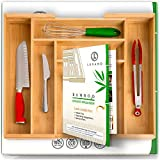 Large Silverware Organizer Cutlery Tray in Gift Box. Bamboo Drawer Organizer for Cutlery and Flatware Tray for Drawer. Extra Deep Silverware Organizers with Locking Expandable Flatware Trays. (No MDF)