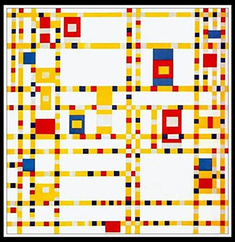 Pintar por Numeros para Adultos,DIY Pintura por números con Pinceles y Pinturas Kit para cepillos Decoraciones para el Hogar - Broadway Boogie Woogie by Piet Mondrian
