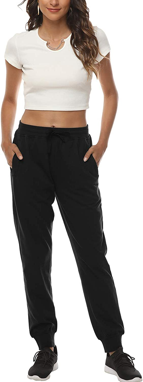 AIRIKE Womens Jogger Running Workout Quick Dry Sweatpants with Zipper Pockets Athletic Cotton Bottoms Solid