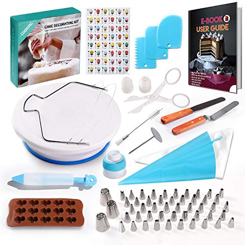 117 Pcs Cake Decorating Supplies Kit for Beginners-1 Turntable stand-48 Numbered icing tips with...