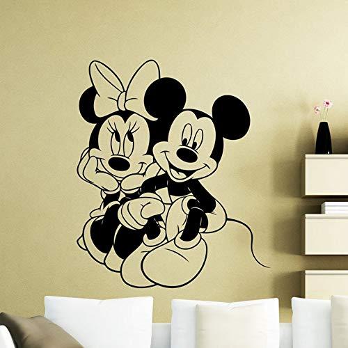 Tianpengyuanshuai Cartoon Maus Vinyl Wandtattoo Kinder Kindergarten Zimmer Innendekoration Paar Wandbild 42X49cm