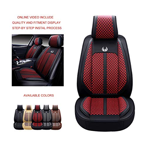 OASIS AUTO Leather&Fabric Car Seat Covers, Faux Leatherette Automotive Vehicle Cushion Cover for...