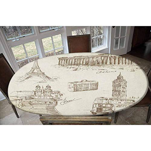 LCGGDB Elastic Polyester Fitted Table Cover,Sketch Art Collection of Travel Over European Landmarks and Vintage Style Suitcase Oblong/Oval Dinner Fitted Table Cloth,Fits Tables up to 48' W x 68' L