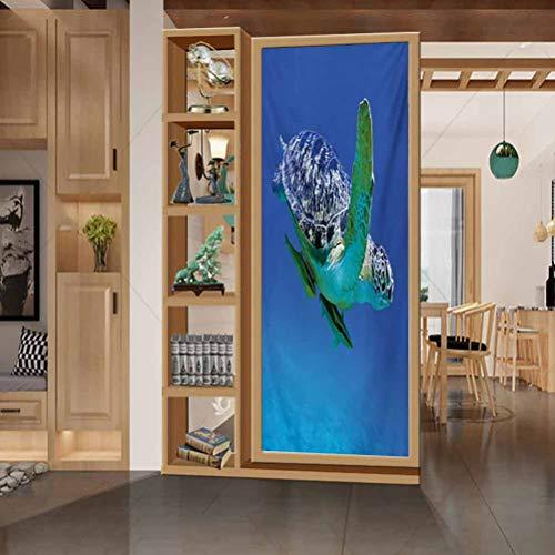 wonderr HeatControlPrivacyWindowFilmGlassStickers, Turtle Aquatic Theme Photo Tropical Exotic Sea Animal Swim A, Easy to Install and Reuse Glass Film, W23.6xH78.7 Inch