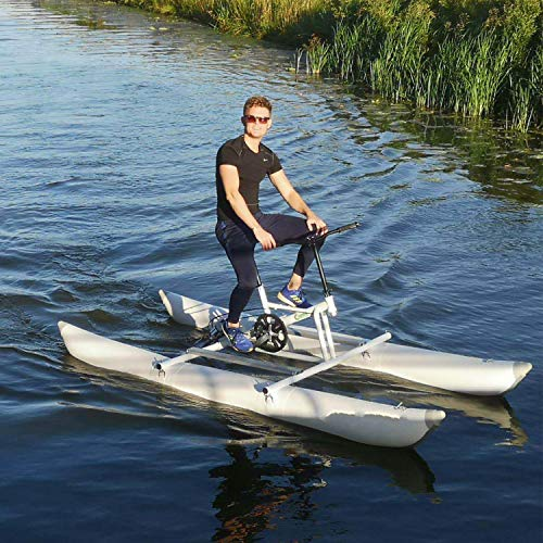paddle boat or pedal boats DIVTEK Water Bikes, Inflatable Kayak Bikeboat for Lake, Water Sports Touring Kayaks Sea Pedal Bicycle Boat for Sport Fun Fishing