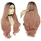 ANOGOL Hair Cap+Glueless Heat Resistant Long Body Wave Ombre Pink Synthetic Front Lace Wig with Dark Roots Front Lace Wigs Ombre Wigs with Dark Roots