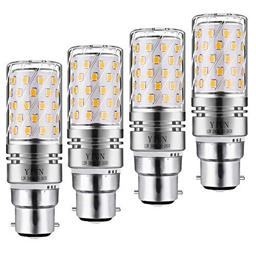 Yiun B22 LED Mais Bulbs12W, 100W Glühlampenäquivalent, 1200lm, warmweiß 3000K LED Kronleuchterlampen, dekorativer Kerzenständer B22, nicht dimmbare LED-Lampe, 4er Pack