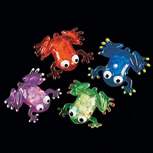 FLASHING SQUISHY FROG WITH BEADS - Toys - 12 Pieces