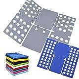 AMZMUKAUP 2 Piezas Doblador de Ropa, Doblar la Ropa Placa Ayuda para Plegar la Ropa Camisetas Tablero para Plegar Ajustable para Ropa Camisas Ropa de niños y Adultos(Gris + Azul)