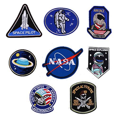Patch Sticker Meetlight 8Pcs Parches Aeroespacial Termoadhesivos DIY Coser o Planchar en Los Parches Nasa Patch Apliques para Ropa Camiseta Sombrero Pantalon Bolsas