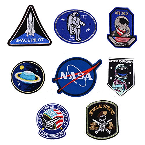 Patch Sticker Meetlight 8Pcs Parches Aeroespacial Termoadhesivos DIY Coser o Planchar en Los Parches Nasa Patch Apliques para Ropa Camiseta Sombrero Pantalon Bolsas