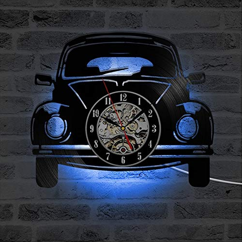 FDGFDG Auto-Form LED-Wanduhr Modernes Design 3D dekorative hängende Uhren mit LED-Beleuchtung Wanduhr Home Decor Silent