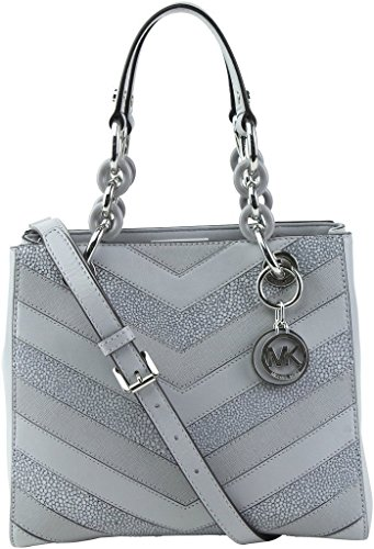 "Genuine Leather Dove Gray / Chevron Pattern Small: 9.5"" (L) x 8""(H) x 4.5""(D) Silver Toned Hardware / Double handles 6"" drop / Cossbody strap 21"" drops- Removable & Adjustable Interior: 3 Compartments with center zip / 2 Pockets - side zip / Lined MK..."