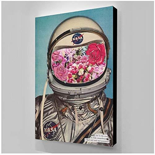 Bloemen Ruimte Astronauten Muur Kunst Canvas Schilderij Poster Foto's voor Kids Kamer Nachtkastje Home Decoratie Print -60x80cm Geen Frame