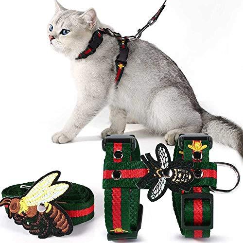 Unihubys Katzengeschirr mit Leine, verstellbar, bestickt, Bienen-H-Stil