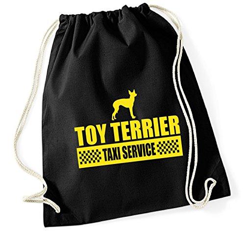 Siviwonder Turnbeutel - TOY TERRIER Toyterrier Russkiy Toy English - TAXI - Hund Hunde Baumwoll Tasche Beutel schwarz