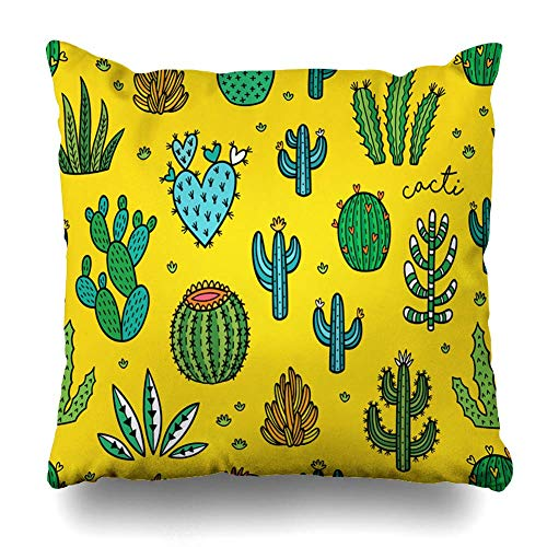 Kissenbezügen Peyote Gelb Baby Kakteen Muster Natur Natur Blüte Boho Botanical Cactus Desert Platz 22 Zoll