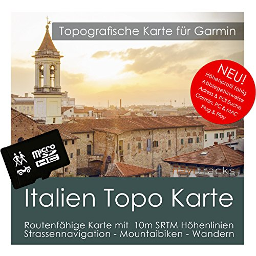 Italien Garmin Karte TOPO 4GB microSD. Topografische GPS Freizeitkarte für Fahrrad Wandern Touren Trekking Geocaching & Outdoor. Navigationsgeräte, PC & MAC