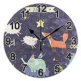 FULUHUAPIN Reloj de pared de elefante de zorro lindo reloj de pared para niña niño sin tictac, silencioso, fácil de leer para decoración de dormitorio 22.5 cm, reloj redondo 20301150