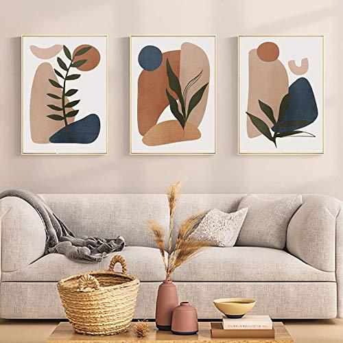 xdai Arte de Pared Abstracto geométrico Hoja Verde Bohemia Lienzo Pintura Cartel Minimalista impresión imágenes sofá decoración del hogar 40x50cmx3 sin Marco