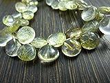 AAA- rutilo de oro cuarzo suave corazón briolettes- 7,50'Strand–piedras measure- 8–10mm