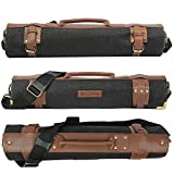 Chef knife roll bag large | stores 10 knives, 3 kitchen utensils Plus leather zipper pouch size open: 28' x 20' | waxed canvas knife carrier | easily carried shoulder strap professional chefs