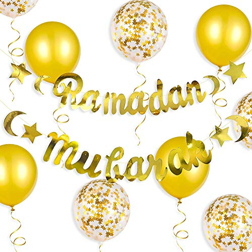 Gold Ramadan Mubarak Banner Eid Decorations Metallic Hanging Star Moon Crescent Garland Muslim Islam Bunting Sign for Home Mantle Fireplace Happy Ramadan Wedding Birthday Party Supplies