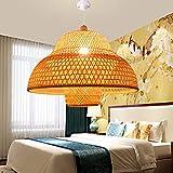 Bamboo Lantern Pendant Lamp, Retro Japanese Style E27 Chandelier Hanging Light Ceiling Lighting Fixture for Living Room Bedroom Restaurant Cafe Teahouse Bar Dining Room Club (24 in)