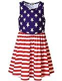 Jxstar Big Girls Summer Sleeveless Dresses American Flag 4th July Dress Size 8 9