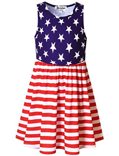 Jxstar Summer Dresses for Girls 6X 7 Independence USA Flag Floor Length Cotton Dresses