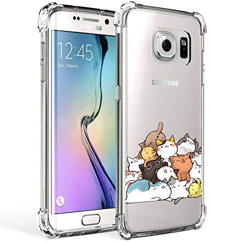 Galaxy S7 Edge Case Ultra Crystal Clear with Cute Cat Design Shockproof Bumper Protective Cell Phone Back Cover for Samsung Galaxy S7 Edge Funny Kitty Flexible Slim Fit Rubber Silicone Case Boy Girl
