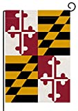 pingpi Double Sided Burlap Garden Flag, Maryland State Decorative Garden Flags - Weather Resistant & Double Stitched - 18 x 12.5 Inch
