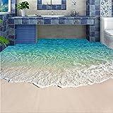 Carte da parati impermeabili antiscivolo personalizzate da parete per pavimenti in murale 3D con acqua di mare 3D Adesivo per pavimenti