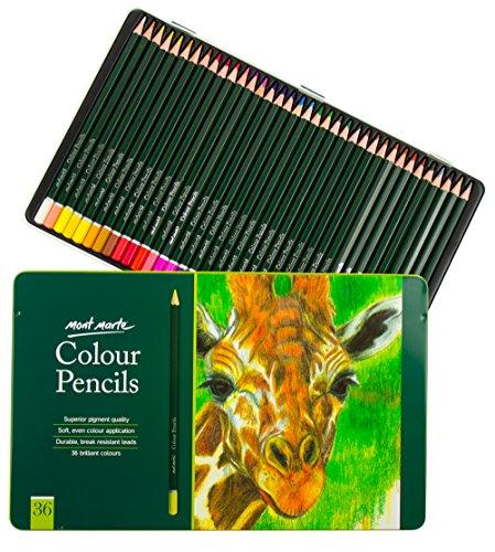 Mont Marte Premium Buntstifte Set – 36 Stück Farbstifte in edlem Metall-Case – Ideale Malstifte für farbenfrohe Zeichnungen und Ausmalen von Bildern – Perfekt für Anfänger, Profis und Künstler