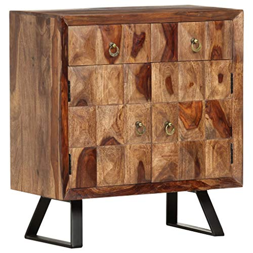 vidaXL Sheesham-Holz Massiv Beistellschrank mit 2 Schubladen 2 Türen Kommode Sideboard Anrichte Schrank Mehrzweckschrank Standschrank 70x35x75cm