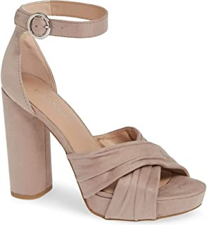 BCBGeneration Womens Flora Dream Fabric Open Toe Casual Ankle, Taupe, Size 9.5