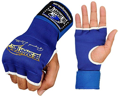 BeSmart Innere Handbandagen, Halbhandschuhe, Boxen, MMA (Mixed Martial Arts), gepolsterte Bandagen, Herren, blau, xl