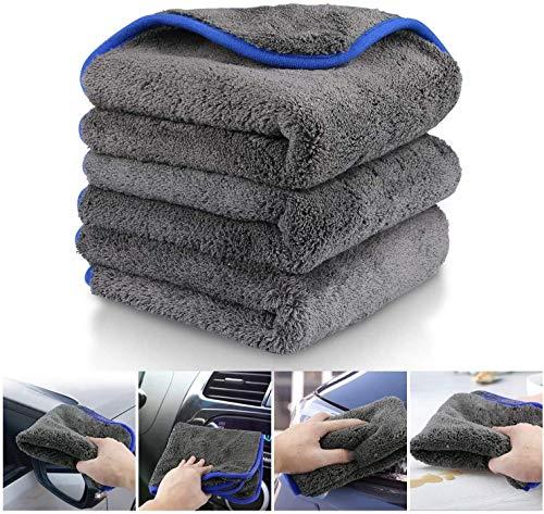 Fixget AM0032 1200 GSM 3Pcs Microfaser Trocknen Handtuch waschen Reinigung Detaillierung Küche Reinigungstücher Wachs und Versiegelung Entfernung, perfekt für Auto waschen & Lackieren-40x40cm, 1200GSM