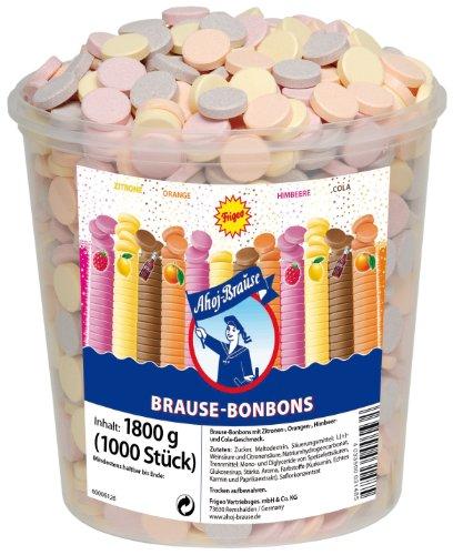 Frigeo Ahoj-Brause, Die Klassiker: runde Brause-Bonbons in den vier Geschmacksrichtungen Zitrone, Orange, Himbeere und Cola, 1000 Stück im Eimer (1,8kg)