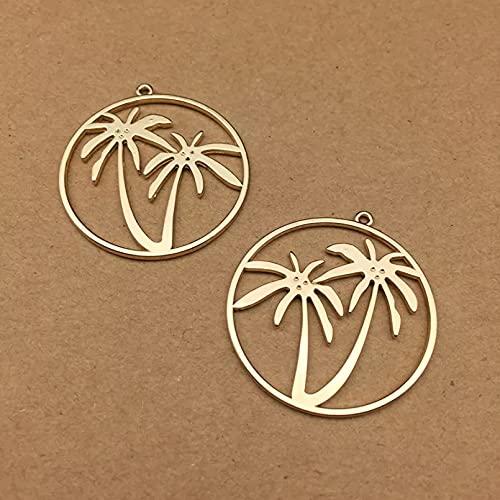 LLBBSS 10 Unids 35X35 Mm Oro Hueco Redondo Árbol De Coco Encantos Simple Círculo De Metal Planta Colgantes Niña Cuelga Haciendo Bricolaje