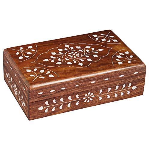 Oosterse kleine opbergdoos met deksel Devin 16 cm groot | Oosterse sieradenkistje voor meisjes en dames voor het bewaren van sieraden | Marokkaanse kistje box van hout