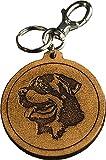 Portachiavi Cane Rottweiler inciso in Vera Pelle Conciata al Vegetale tamponato a mano - Etabeta Artigiano Toscano - Made in Italy