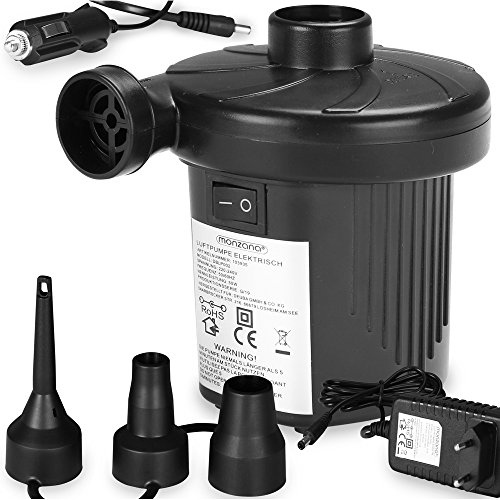 Monzana Elektrische Luftpumpe I Elektropumpe inkl. 3 Aufsätze I Multifunktions Luftpumpe 2 in 1 I Luftmatratze Luftballon