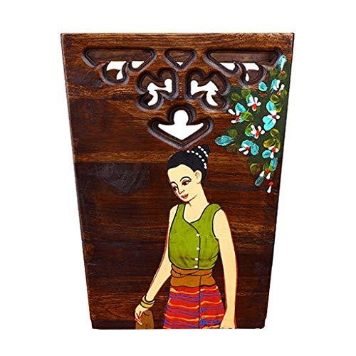 Papelera oficina Rústico residuos de madera cesta cuadrada Papelera de madera Papelera de color pintado decorativo puede Aspecto de la basura for el dormitorio de la sala de baño y oficina papeleras d