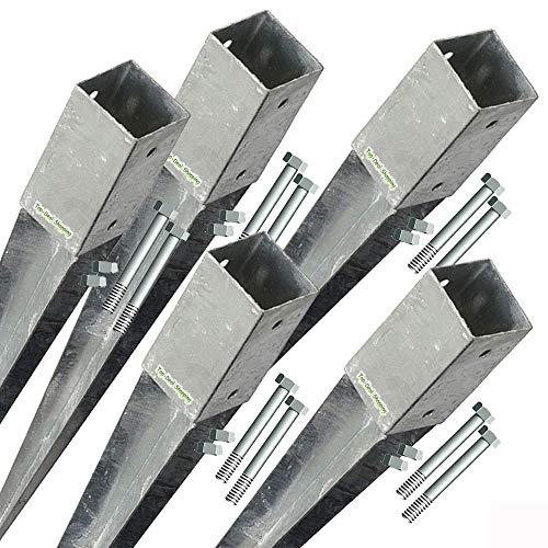 5- er Set Bodenhülsen für Stützen 7x7 cm mit Schrauben