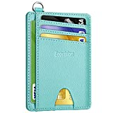 Slim Minimalist Front Pocket Wallet, Ecovision RFID Blocking Credit Card Holder Wallet with Detachable D-Shackle for Men Women