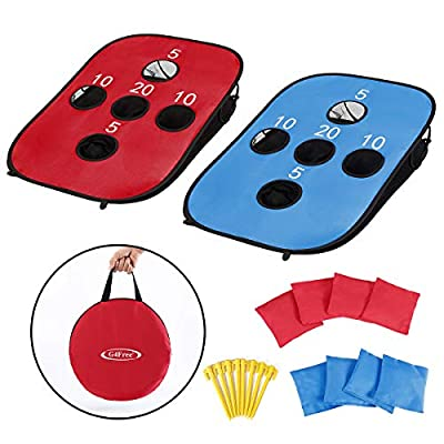 G4Free Portable Collapsible 5 Holes Cornhole Game Set with 8 Bean Bags Carrying Case Toss Game Size 3ft x 2ft for Camping Travel by G4Free