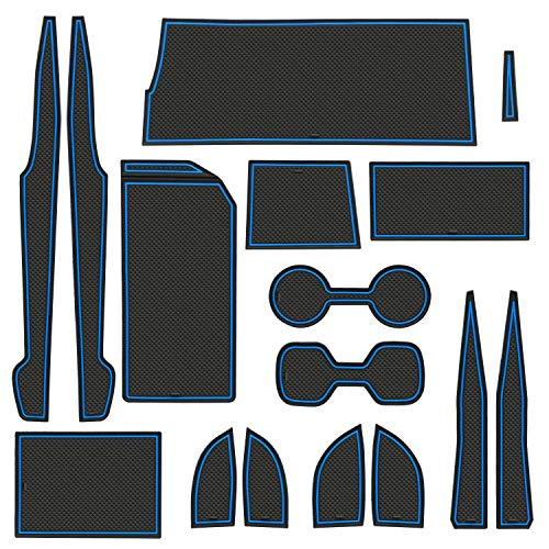 LIGENT Compatible with Toyota Camry Accessories 2018 2019 2020 2021 Premium Custom Cup Holder Insert, Center Console Liner Organizer Door Pocket Mats Pad (16-pc Set, Blue Trim)