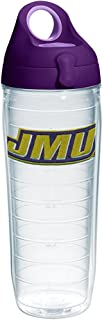 Tervis James Madison Dukes Primary Logo Insulated Tumbler with Emblem and Purple Lid, 24oz Water Bottle, Clear