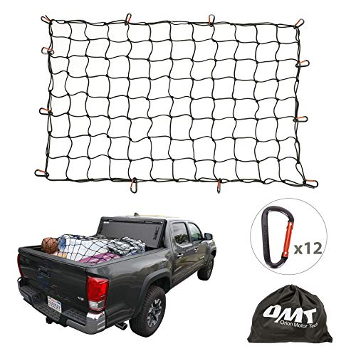 Orion Motor Tech Cargo Nets for Pickup Trucks 3#039x4#039 Latex Cargo Net Stretches to 6#039x8#039 Universal Heavy Duty Truck Bed Net12 TangleFree D Clip Carabiners 4quotx4quot Mesh Holds Small Large Loads Tighter